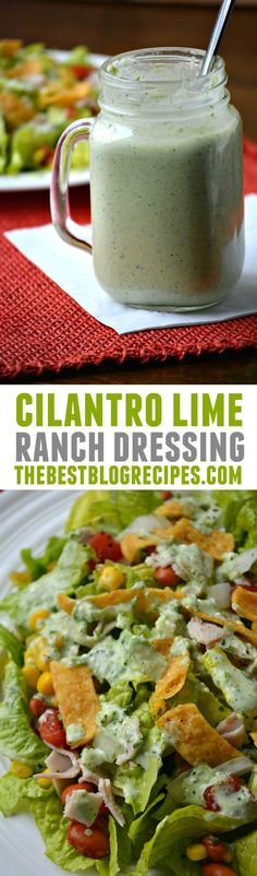 Cilantro Lime Ranch Dressing is easy to make and delicious on a salad!