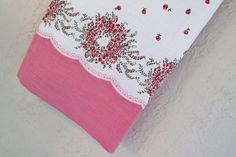 Vintage Pillowcase Fabric Pink Floral by Boutiqueatthebusybee