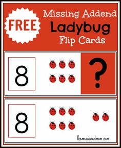 missing addend flip cards ladybugs the measured Missing Addend Activity: Ladybug flip cards! Math Strategies, Math Resources, Math Activities, Preschool Math, Teaching Math, Maths, Kids Math, Math Math, Teaching Ideas