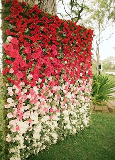 Stunning outdoor garden wedding ceremony with red ombre flowers; Featured Photographer: Anna Kim Photography