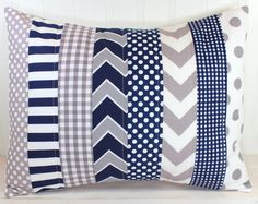 Pillow Cover, Baby Boy Nursery Decor, Patchwork Pillow Cover, Crib Bedding, 12 x 16 Inches, Navy Blue and Grey, Gray, Chevron, Dots, Stripes...