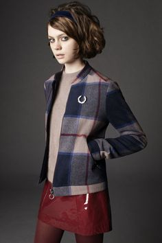 Richard Nicoll for Fred Perry Laurel Wreath Collection, checked woolen Harrington jacket. Tennis Fashion, Mod Fashion, Fashion Mode, Vintage Fashion, Sporty Fashion, Mode Skinhead, Skinhead Fashion, Preppy Mode, Preppy Style