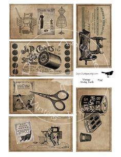 Vintage Sewing Cards Sepia Image Collage Sheet by DigitalAntiques, $3.75