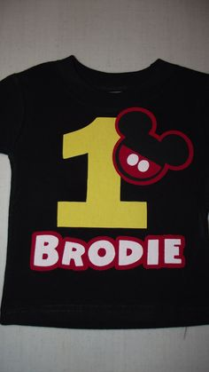Mickey Mouse Minnie Mouse - Red Black Yellow Disney Birthday Family Custom T-Shirt Personalized Applique $18.00