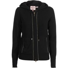 Juicy Couture Lurex Black Dovetail Wool Cashmere Hoodie ($140) ❤ liked on Polyvore featuring tops, hoodies, jackets, sweaters, outerwear, women, cashmere hoodie, zipper hoodie, juicy couture hoodie and hooded zipper sweatshirts