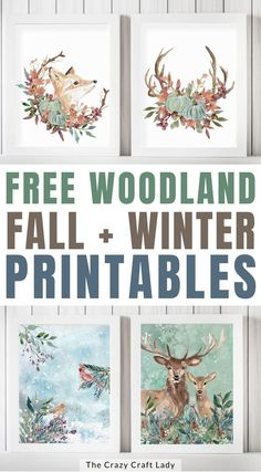 Cozy up your home with these FREE watercolor woodland printables for fall and winter. Use these prints to decorate your home for the colder seasons. Pumpkin Crafts, Fall Crafts, Fall Home Decor, Autumn Home, Printable Art, Free Printables, Dollar Store Crafts, Fall Wreaths, Decorating Your Home