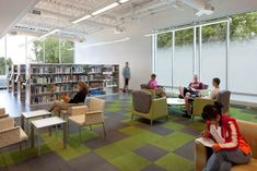 Library Interior Design Award | Project Title: Ramsey County Roseville Library | Project Location: Roseville, MN | Firm: Meyer, Scherer & Rockcastle, Ltd. (MS), Minneapolis, MN | Category: Public Libraries Over 30,000 SF  | Award: Honorable Mention    love the carpet