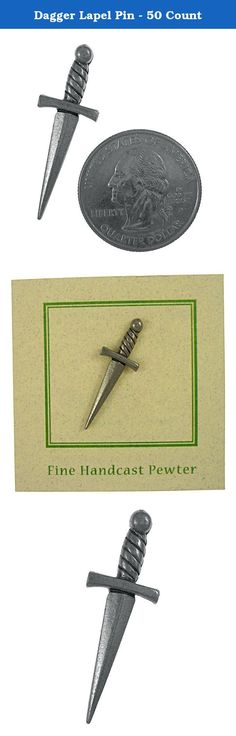 Dagger Lapel Pin - 50 Count. The Dagger was a weapon used commonly during the Medieval times. A dagger is a short knife with a pointed blade used as a piercing, thrusting or stabbing weapon with a short, single or double-edged blade. Handcast in solid, lead-free pewter, our pins arrive on our signature presentation cards, making them ready for gift-giving, or receiving.