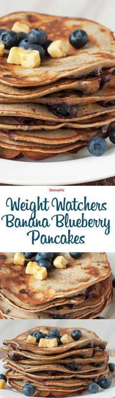 Weight Watchers Banana Blueberry Pancakes. One bite and you�ll fall in love.