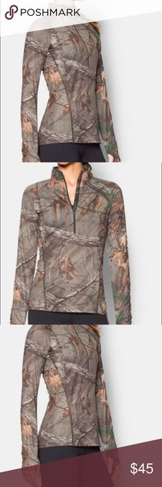 Under Armour women's medium long sleeve shirt This is such a nice womens medium under armour camo long sleeve PRODUCT DNA  Fitted: Next-to-skin without the squeeze. Super-soft UA Tech™ fabric delivers incredible all-day comfort Signature Moisture Transport System wicks sweat to keep you dry & light ArmourBlock® anti-odor technology Super breathable performance mesh raglan sleeves Allover camo graphic Polyester Imported Under Armour Tops Tees - Long Sleeve