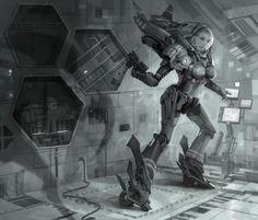 open the door  by ~molybdenumgp03 # cyberpunk, robot girl, cyborg, futuristic, android, sci-fi, science fiction, cyber girl, digital art