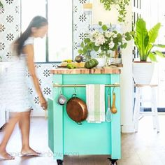How to design & install a beautiful IKEA kitchen with Sektion cabinets, farmhouse sink, modern subway tile, butcher block countertop, & DIY kitchen island! Best tips, ideas & resources! – A Piece of Rainbow #farmhouse #kitchen #kitchendesign #kitchenisland #kitchenremodel #DIY #remodel #boho #anthropologie small functional kitchen makeover remodeling, renovation, boho house, colorful farmhouse, ikea hack Kitchen Island Ikea Hack, Ikea Kitchen Remodel, Ikea Kitchen Cabinets, Kitchen Cart, Farmhouse Cabinets, Ikea Island, Kitchen Store, Tv Cabinets, Habitat For Humanity
