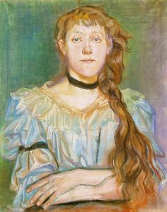 Pastel portrait of a girl with a velvet ribbon around her neck by Stanisław Wyspiański, 1894 (PD-art/old), Muzeum Narodowe w Warszawie (MNW) Classic Paintings, Portrait Drawing, Art Masters, Pastel Portraits, Painting, Art, Artwork Painting, Portrait Art, Interesting Art
