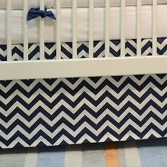 Navy Chevron crib skirt from the Skate Park Collection.