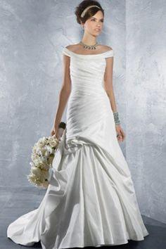 Taffeta fabric Mermaid with Off the Shoulder sleeve style wedding dress