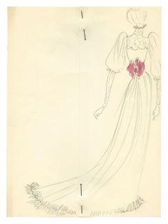 1971 - YSL sketch - dress for Jane Birkin (back) for the Bal Proust @ FondationBergeYSL
