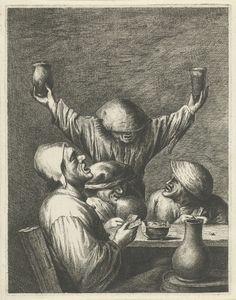 Johannes Gronsveld | Herberginterieur met boeren, Johannes Gronsveld, Adriaen Brouwer, 1679 - 1728 | Herberginterieur met vier kaartende boeren van wie er drie aan tafel zitten en één achter de tafel staat. Hij houdt in de ene hand een glas en in de andere een kan omhoog en draagt een muts over de ogen.