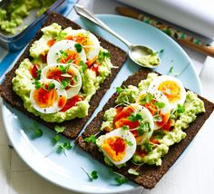 Egg & Avocado open sandwich - Give your lunch box a moreish makeover - take the ingredients separately and assemble for a fresh and healthy midday meal Healthy Recipe Videos, Bbc Good Food Recipes, Healthy Recipes, Healthy Snacks, Healthy Eating, Open Sandwich Recipe, Sandwich Recipes, Lunch Recipes, Tapas