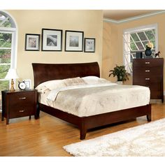 Furniture of America Mellowi Brown Cherry Flared Platform Bed