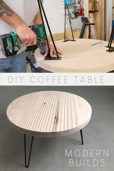 Modern Builds Round Coffee Table with Hairpin Legs Round Coffee Table Diy, Hairpin Leg Coffee Table, Coffee Table Legs, Modern Coffee Tables, Hairpin Legs, Modern Table, How To Build Coffee Table, Diy Table Legs, Diy Holz