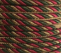Red Green Gold Rope Cord Trim with Lip   by supplysideeconomics