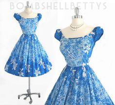 Vintage 1950's Blue Hawaii Hawaiian Orchid Full Skirt Dress
