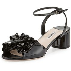 Miu Miu Ruffled Patent 45mm Sandal (£515) ❤ liked on Polyvore featuring shoes, sandals, nero, leather sole shoes, wrap sandals, patent leather shoes, strap sandals and ankle strap shoes