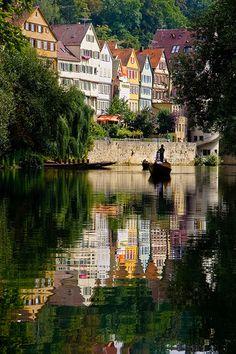 The little big town on the river Neckar in TUBINGEN GERMANY.
