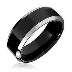 $14.99 8mm Men's Flat Top Comfort Fit Tungsten Wedding Band Ring With Black Stripe Center and Ceramic Inlay