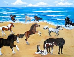 Horses at the Beach Print horse lover gift horse by MainelyPets