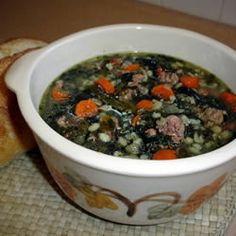 Sausage Barley Soup Recipe. This was really good. I put it in the slow cooker before church and came home to yummy soup!!! I used lean turkey sausage and fresh spinach because that was what I had. Oh yeah, and I doubled the recipe. ~Sandy