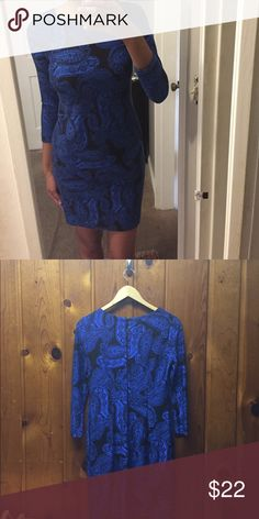 Blue & Black Paisley Printed Dress In Great Condition 70% Viscose 25% Polyamide 5% Elastane/ 10% bundles of 2 or more items! From a smoke free environment. Perfect for the holidays! Pair w/ a nice pair of black heels or over the knee boots! 😃 Dresses Mini