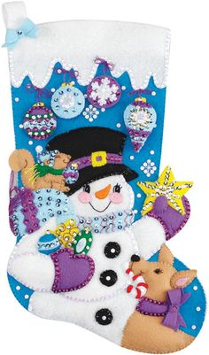 Frosty's Favorite Ornament Stocking Felt Applique Kit-18  Long