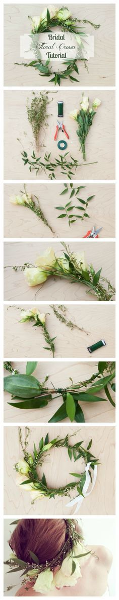 DIY - How to Make a Floral Crown from fresh flower for bridal/ wedding