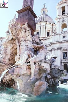 Springbrunnen, Piazza Navona .. der schönste Springbrunnen in ganz Rom! Piazza Navona, Dom, Mansions, House Styles, The Colosseum, Water Fountains, Temple, Mansion Houses, Manor Houses