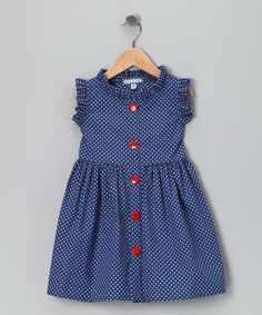French Blue Polka Dot Picnic Dress - Infant, Toddler & Girls