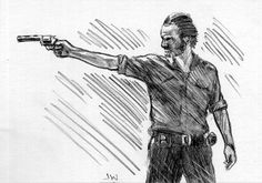 Rick from The Walking Dead ACEO Sketch Card by Jeff Ward #thewalkingdead #rick #sketchcard #aceo