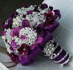 Purple & Plum Satin Bouquet Bejeweled With Crystal Brooch, Rhinestones, & Pearls<<<<