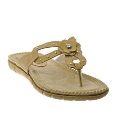 643c6d6c9afc3a Loving this Taupe Gem Flower Sandal on  zulily!  zulilyfinds Taupe