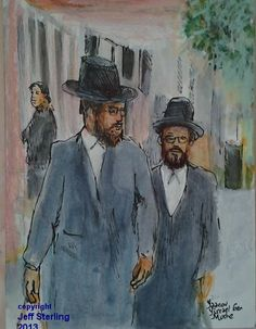 Dinner guests..walking to Shabbat in Brooklyn,New York. The area called Williamsburg has a large Orthodox Jewish population..and I tried to create a 'sketchy' mood of these two scholars strolling past the brownstone townhouses preparing to celebrate the Sabbath Friday night dinner. This recent painting hangs in a private collection at attorneys in Hollywood,Florida near Fort Lauderdale. I used Rapidograph German made technical India Ink pens and watercolors on illustration board.