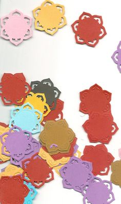 Paper flowers --  50 total  --  Hand Die Cut  --  Assorted Colors  (appr. 1  3/8 inches)  (#302) on Etsy, $3.00