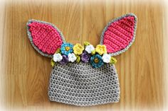 Crocheted Easter Bunny Hat Bunny Ears Girl Bunny Hat Easter