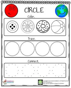 We prepared a circle worksheet for kindergarten, preschoolers and kids. With this worksheet kids will practice drawing and recognition circle. This circle worksheet is free to use for educational purposes. This circle worksheet is in pdf and printable. Circle Crafts Preschool, Shape Worksheets For Preschool, Shapes Worksheet Kindergarten, Shapes Worksheets, Numbers Kindergarten, Preschool Writing, Preschool Learning Activities, Preschool Printables, Kids Learning