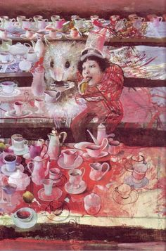 Dusan Kallay ~ Alice and White Rabbit - Tea Party Hans Christian, Adventures In Wonderland, Alice In Wonderland, Candy Art, Amazing Drawings, Book Illustration, Art Forms, Printmaking, Fairy Tales