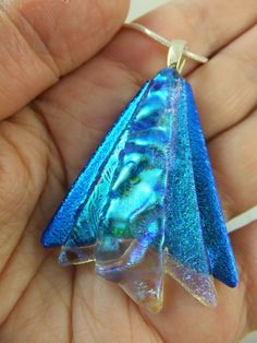 FAIRY WINGS in SPARKLY TEAL BLUE - Handmade Dichroic Glass Pendant + Chain by Cheryl Smith