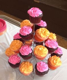 Orange and Pink Cupcakes By abchambers on CakeCentral.com
