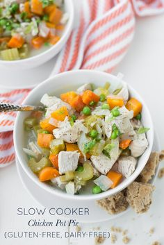 Packed with chicken and vegetables, Slow Cooker Chicken Pot Pie (Gluten-Free, Dairy-Free) is made with real food ingredients and tastes amazing!