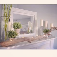 Wanted to share my spring mantel with you but it's not done and I've gotta get ready for a meeting so..here is a #tbt pic from my blog from a few years ago #bhg.com was nice enough to share it back in the day #TBT #mantelpiece #mantel #driftwood #spring