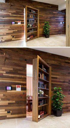 porte d'intérieur escamotable, parement mural en bois massif et revêtement de sol en pierre naturelle