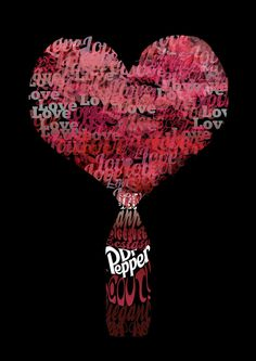 dr pepper typography by deniroUK on DeviantArt Coca Cola, Diet Dr Pepper, Inventions, Typography, Lettering, Valentines, Stuffed Peppers, Chocolate, Hearts